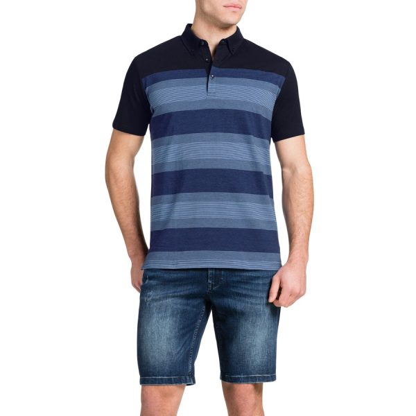 Fashion 4 Men - Tarocash Spliced Stripe Polo Navy Xxl