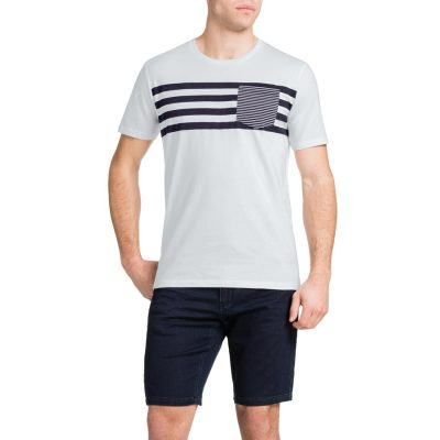 Fashion 4 Men - Tarocash Stripe Pocket Tee White S