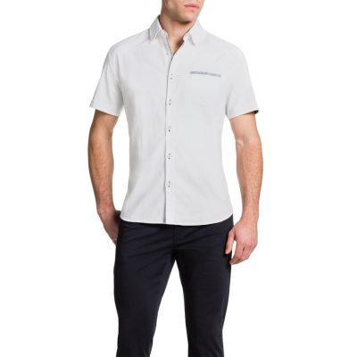 Fashion 4 Men - Tarocash Textured Trim Shirt White M