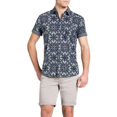 Fashion 4 Men - Tarocash Tile Print Shirt Navy Xxl
