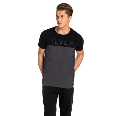 Fashion 4 Men - yd. Black Panel Tee Black Xs