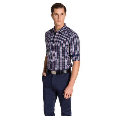 Fashion 4 Men - yd. Cosmopolitain Slim Fit Shirt Navy Check M