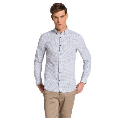 Fashion 4 Men - yd. Fremont Slim Fit Shirt White/Sky Xxxl