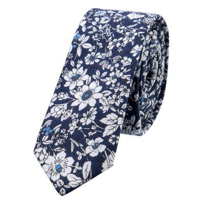Fashion 4 Men - yd. Large Floral Tie Dark Blue One