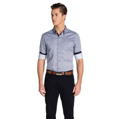Fashion 4 Men - yd. Lorcan Slim Fit Shirt Navy/ White Xs