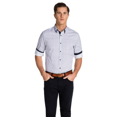 Fashion 4 Men - yd. Tyron Slim Fitshirt Blue/ White S