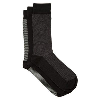 Fashion 4 Men - Tarocash 3 Pack Patterned Socks Black 1