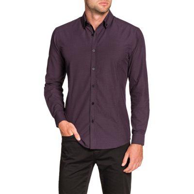 Fashion 4 Men - Tarocash Alberto Slim Textured Shirt Berry Xl