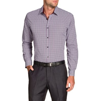 Fashion 4 Men - Tarocash Baillie Jacquard Check Shirt Burgundy 5 Xl