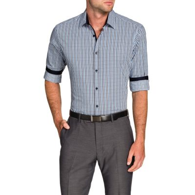 Fashion 4 Men - Tarocash Baillie Jacquard Check Shirt Navy 5 Xl