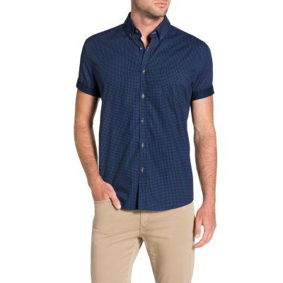 Fashion 4 Men - Tarocash Bank Print Shirt Navy M