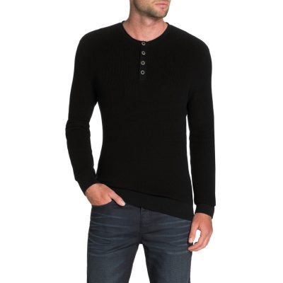 Fashion 4 Men - Tarocash Fleetwood Henley Knit Black M