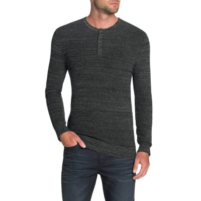 Fashion 4 Men - Tarocash Fleetwood Henley Knit Charcoal M