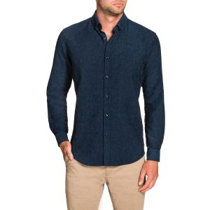 Fashion 4 Men - Tarocash Frasier Linen Blend Shirt Petrol Xxxl