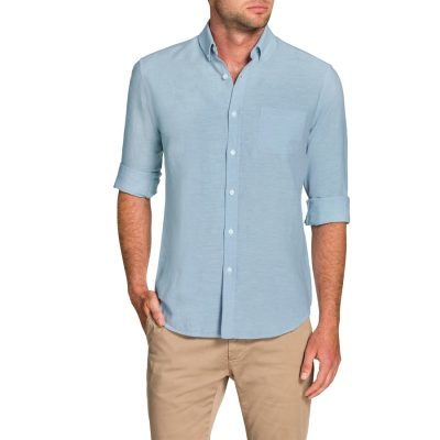 Fashion 4 Men - Tarocash Frasier Linen Blend Shirt Sky Xxl