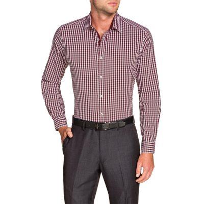 Fashion 4 Men - Tarocash Gingham Check Stretch Shirt Burgundy 5 Xl