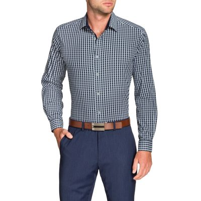 Fashion 4 Men - Tarocash Gingham Check Stretch Shirt Navy S