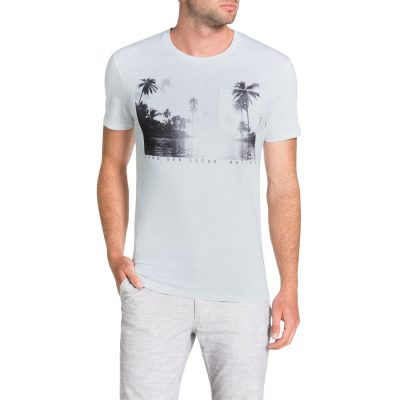 Fashion 4 Men - Tarocash Island Print Tee White 4 Xl
