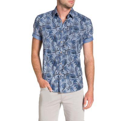 Fashion 4 Men - Tarocash Lani Print Shirt Blue L