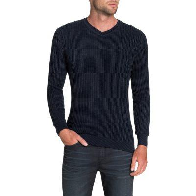 Fashion 4 Men - Tarocash Phoenix Textured V Neck Knit Navy Xl