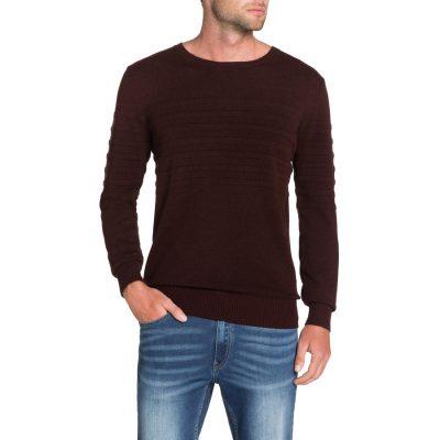 Fashion 4 Men - Tarocash Roterdam Panel Rib Knit Burgundy M