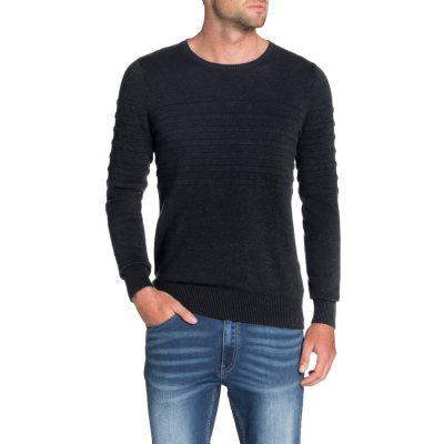 Fashion 4 Men - Tarocash Roterdam Panel Rib Knit Navy M
