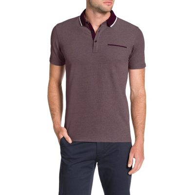 Fashion 4 Men - Tarocash Solid Collar Polo Burgundy Xxl