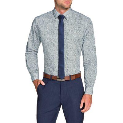 Fashion 4 Men - Tarocash Stone Paisley Print Shirt White M