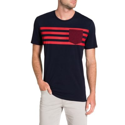 Fashion 4 Men - Tarocash Stripe Pocket Tee Navy Xl