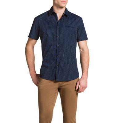 Fashion 4 Men - Tarocash Teardrop Print Shirt Navy S