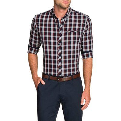 Fashion 4 Men - Tarocash Xavier Check Shirt Burgundy Xl