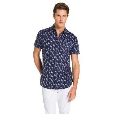 Fashion 4 Men - yd. Abstract Flamingo Ss Shirt Blue L