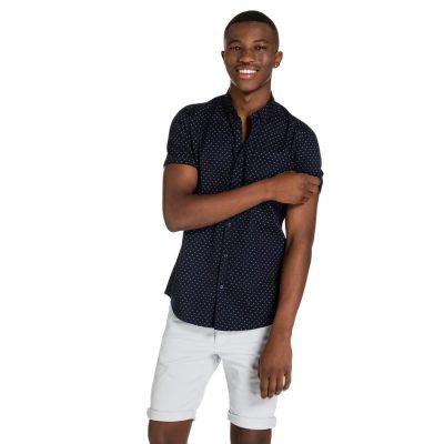 Fashion 4 Men - yd. Caine S/S Shirt Dark Blue 2 Xs