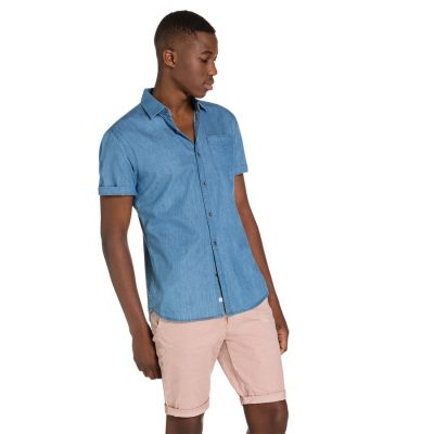 Fashion 4 Men - yd. Chambray Ss Shirt Blue 3 Xs