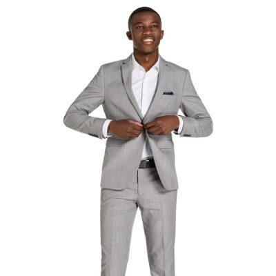 Fashion 4 Men - yd. Charles Skinny Suit Jacket Silver Grey Check 32