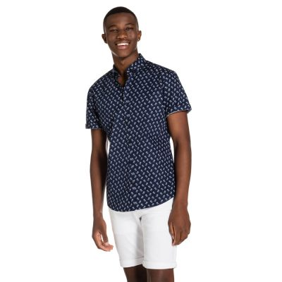 Fashion 4 Men - yd. Coulter S/S Shirt Palm Navy 2 Xs