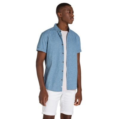 Fashion 4 Men - yd. Mosley S/S Shirt Denim Blue 2 Xs
