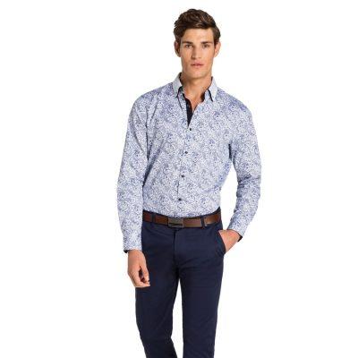 Fashion 4 Men - yd. Paisley Print Slim Fit Shirt Blue Xs