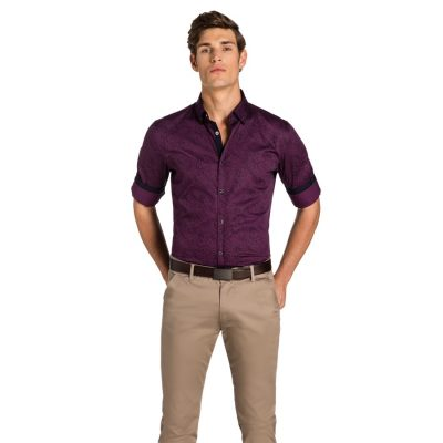Fashion 4 Men - yd. Paisley Print Slim Fit Shirt Burgundy S