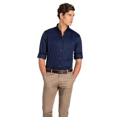 Fashion 4 Men - yd. Paisley Print Slim Fit Shirt Dark Blue Xl