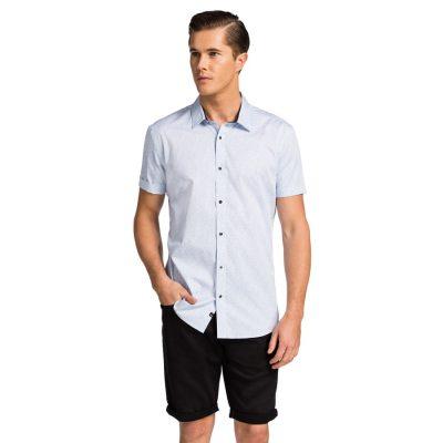 Fashion 4 Men - yd. Shelburn Slim Fit Ss Shirt Light Blue M