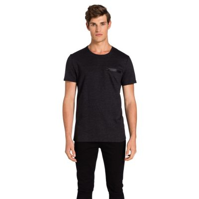 Fashion 4 Men - yd. Zippy Zip Tee Charcoal 2 Xs