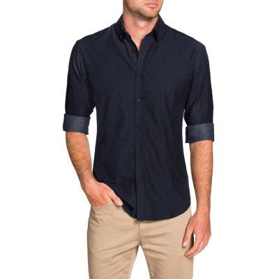 Fashion 4 Men - Tarocash Alberto Slim Textured Shirt Navy L