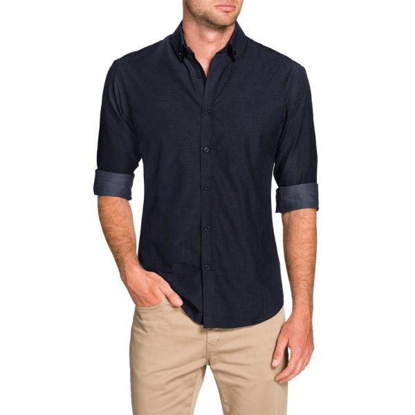 Fashion 4 Men - Tarocash Alberto Slim Textured Shirt Navy S