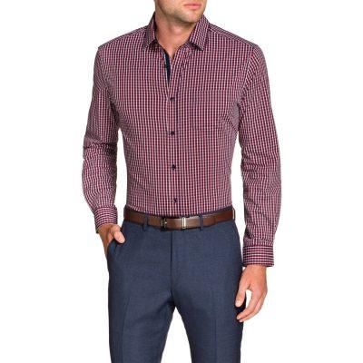 Fashion 4 Men - Tarocash Bourke Stretch Check Shirt Red L