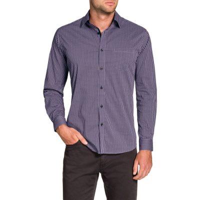 Fashion 4 Men - Tarocash Doyle Stretch Check Shirt Lilac L