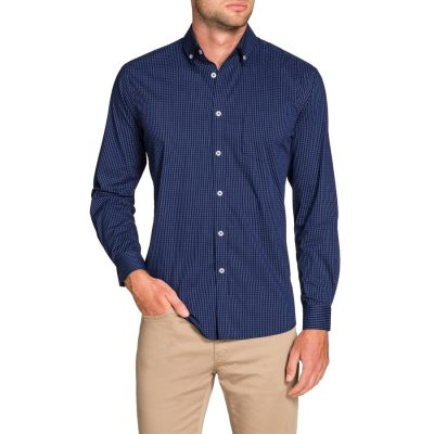 Fashion 4 Men - Tarocash Fallon Slim Check Shirt Cobalt Xl