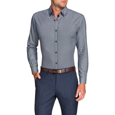 Fashion 4 Men - Tarocash Finn Slim Textured Shirt Navy S