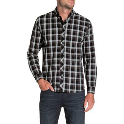 Fashion 4 Men - Tarocash Mcgreggor Check Shirt Charcoal 4 Xl