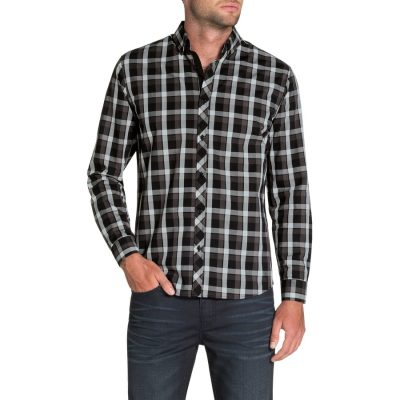 Fashion 4 Men - Tarocash Mcgreggor Check Shirt Charcoal 5 Xl